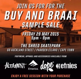 The Shred – Sample sale + Braai