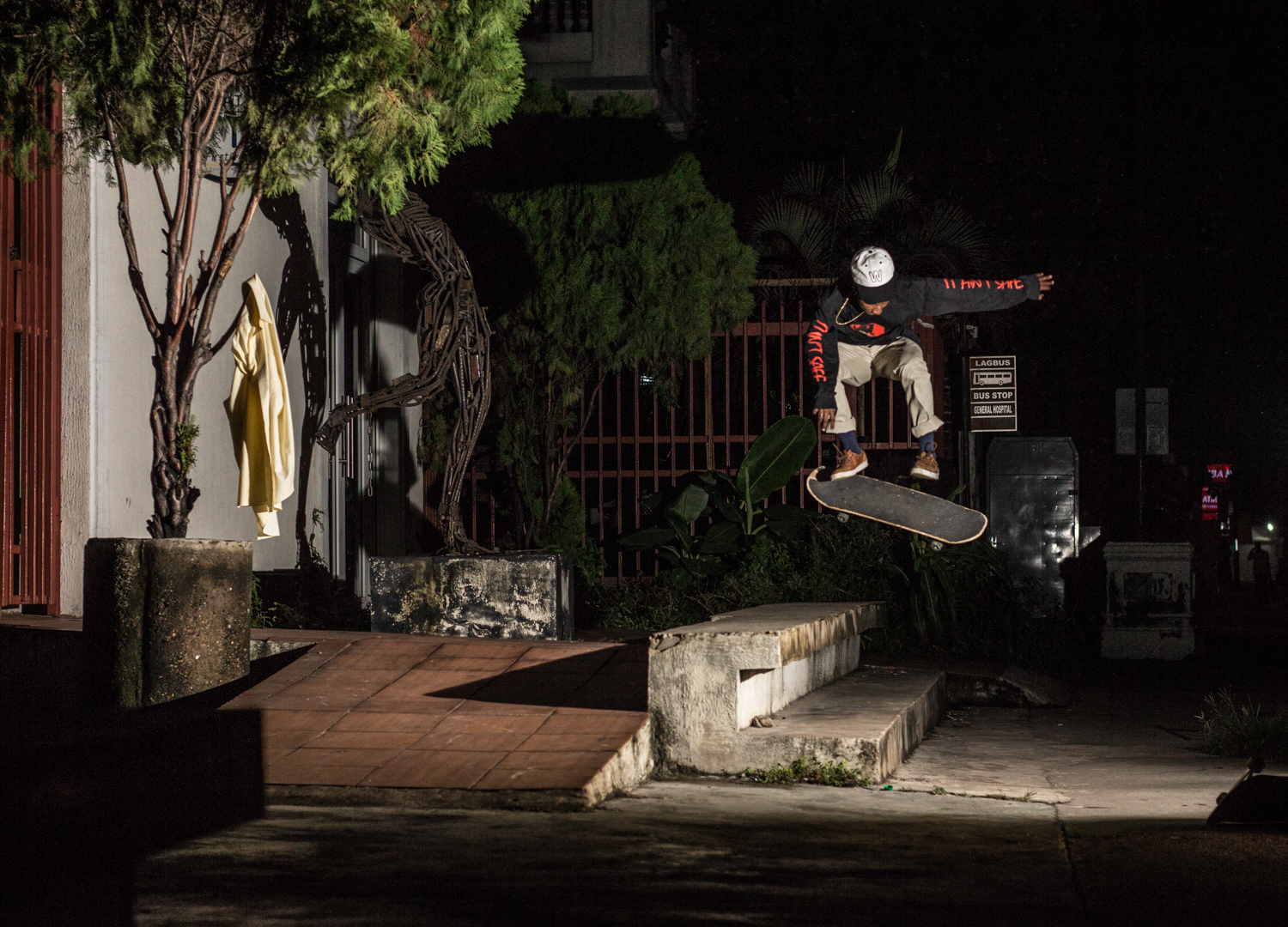 Kagiso Leburu with a backside flip in Lagos, Nigeria